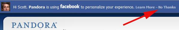 Pandora Facebook bar