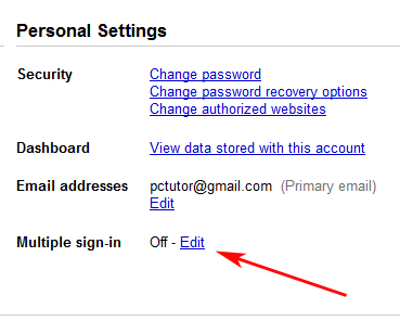 Google edit sign in settings