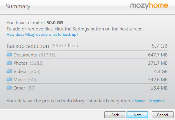 Mozy file selection