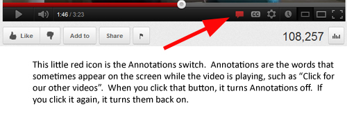 YouTube annotations