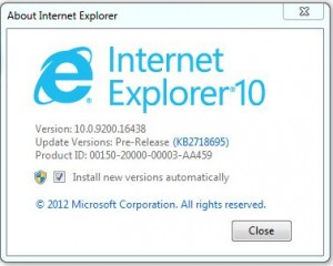 Internet Explorer 10 Pre-Release version