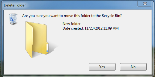 Recycle Bin warning
