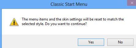 start menu change warning