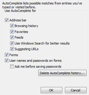 IE password settings