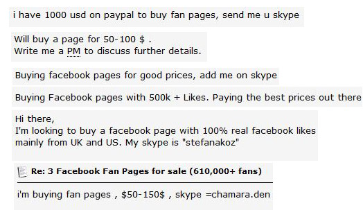 buying Facebook pages