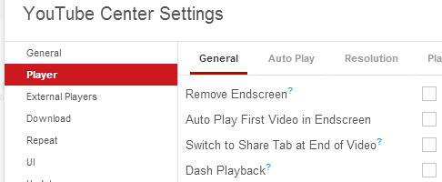 YouTube Center settings