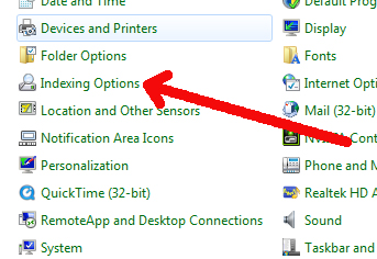 Windows indexing options