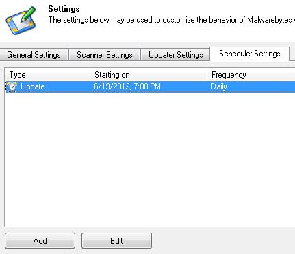 Malwarebytes default configuration