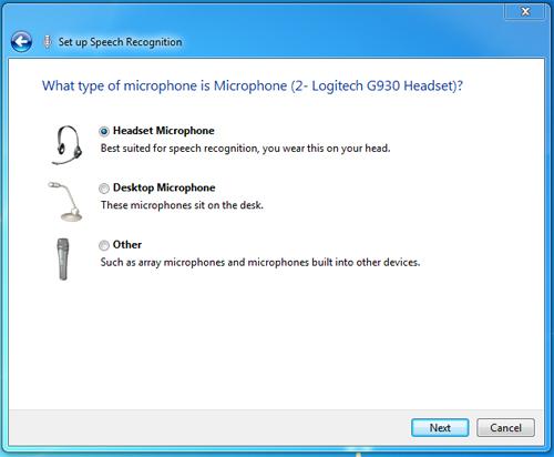 speech recognition setup