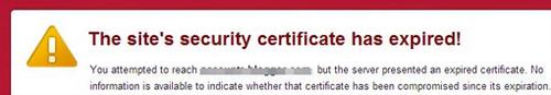 site certificate warning