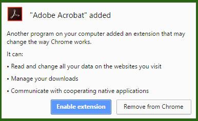 Adobe Reader extension warning