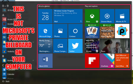 Start menu billboard