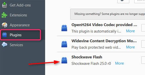 disable flash in firefox