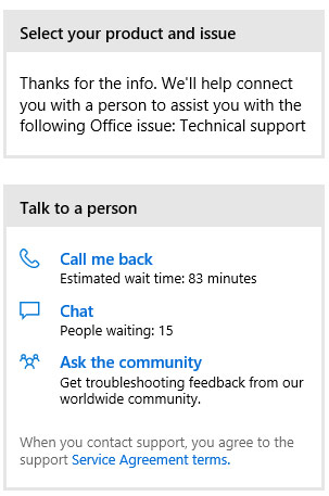Microsoft tech support chat
