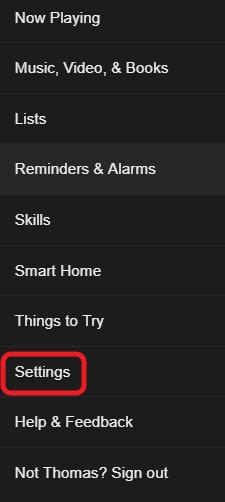Alexa settings