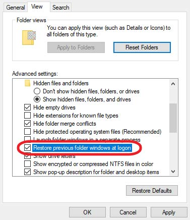 restore previous folder windows