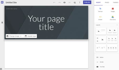 Google Sites home page