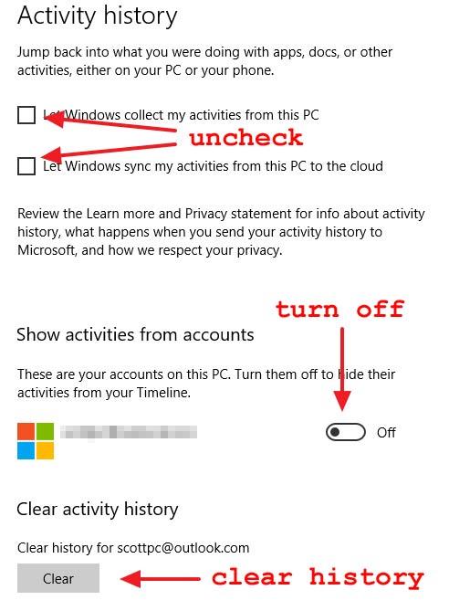 configure Activity history