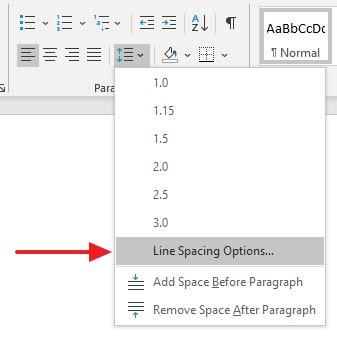 MS Word spacing