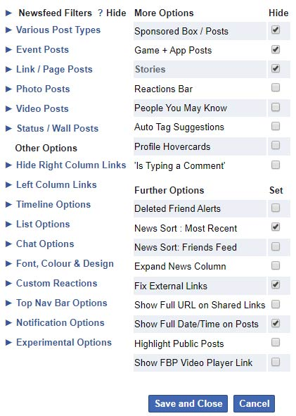 FB Purity options