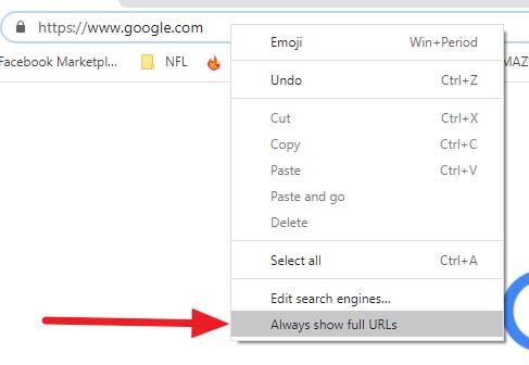 Chrome full URL